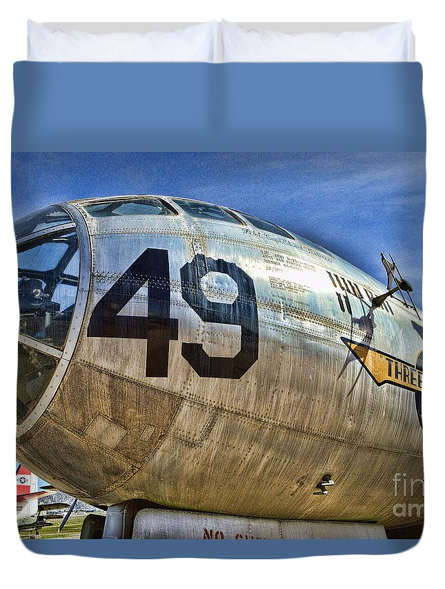 Boeing B-29 Superfortress Duvet Cover featuring the photograph Number 49 by Tommy Anderson
