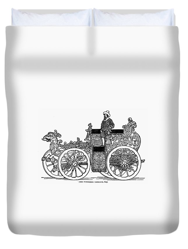 1649 Duvet Cover featuring the painting Nuremberg Carriage, 1649 by Granger