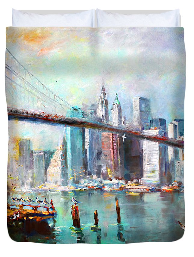 Manhattan Skyline Paintings Duvet Covers