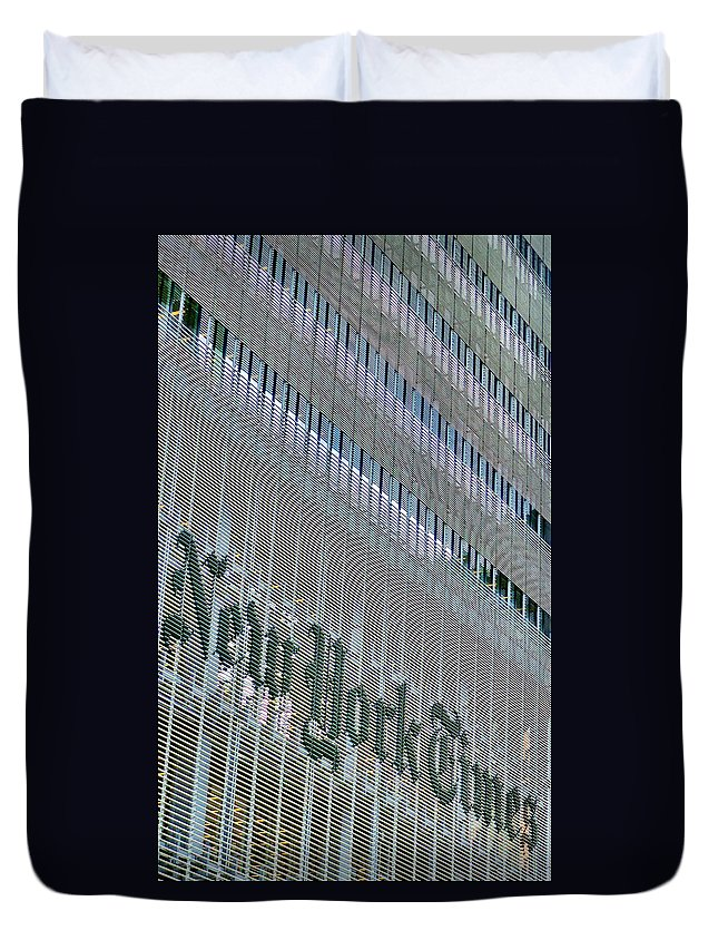 City Duvet Cover featuring the photograph Ny Times by Art Dingo