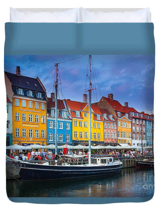 Copenhagen Duvet Cover featuring the photograph Nyhavn Canal by Inge Johnsson
