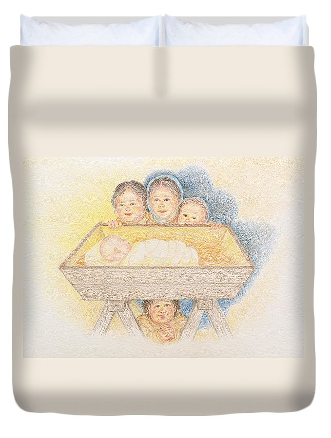 Christmas Card Duvet Cover featuring the drawing O Come Little Children - Christmas Card by Michele Myers