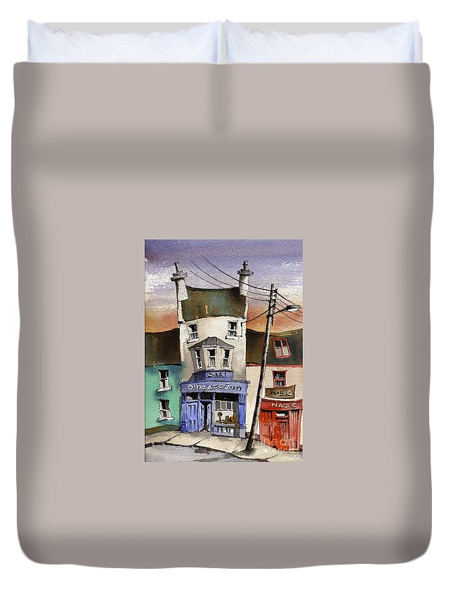 Val Byrne Duvet Cover featuring the painting O Heagrain Pub Viewed 115737 Times by Val Byrne