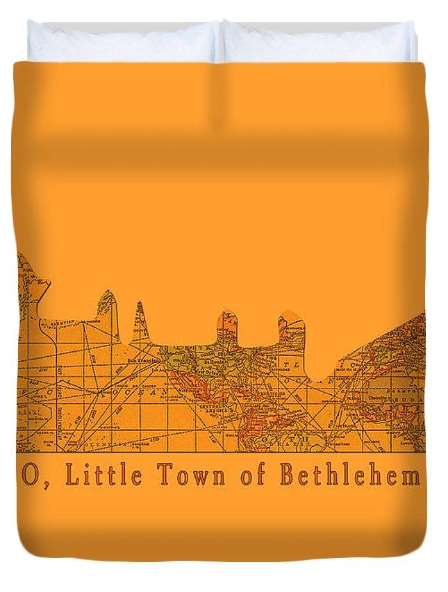 Little Town Duvet Cover featuring the digital art O Little Town Of Bethlehem by Sarah Vernon