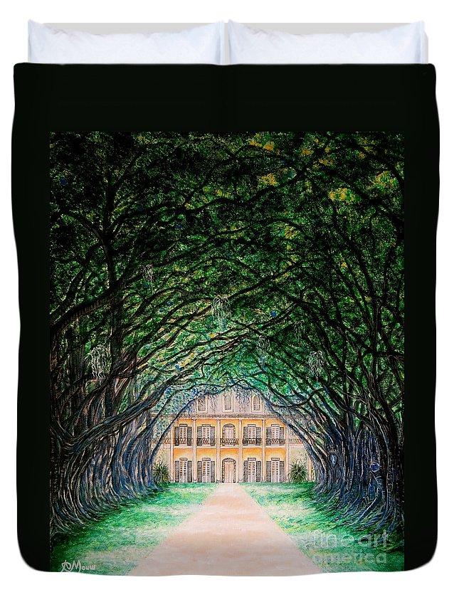 Oak Alley Plantation Duvet Cover featuring the painting Oak Alley Plantation by Aimee Mouw