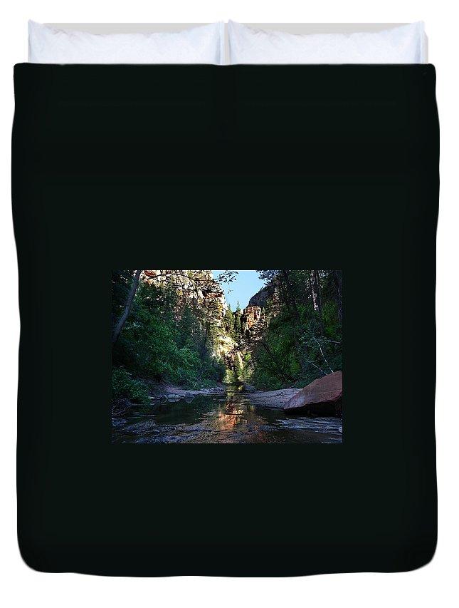 Arizona Duvet Cover featuring the photograph Oak Creek Canyon by Steve Ondrus