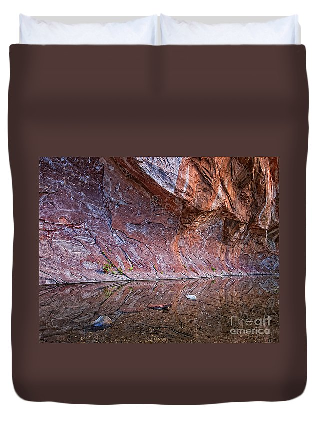 Arizona Duvet Cover featuring the photograph Oak Creek Reflection by Claudia Kuhn
