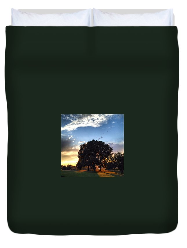 Tree Duvet Cover featuring the photograph Oak Tree At The Magic Hour by Angela Rath