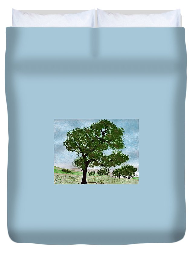 Landscape Duvet Cover featuring the drawing Oak Tree Landscape by D Hackett