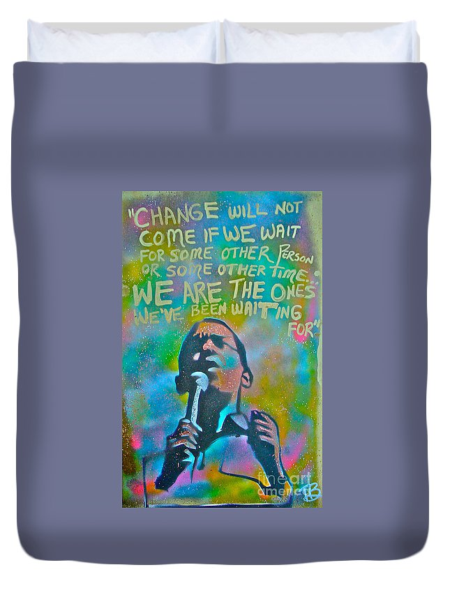 Barack Obama Duvet Cover featuring the painting Obama In Living Color by Tony B Conscious