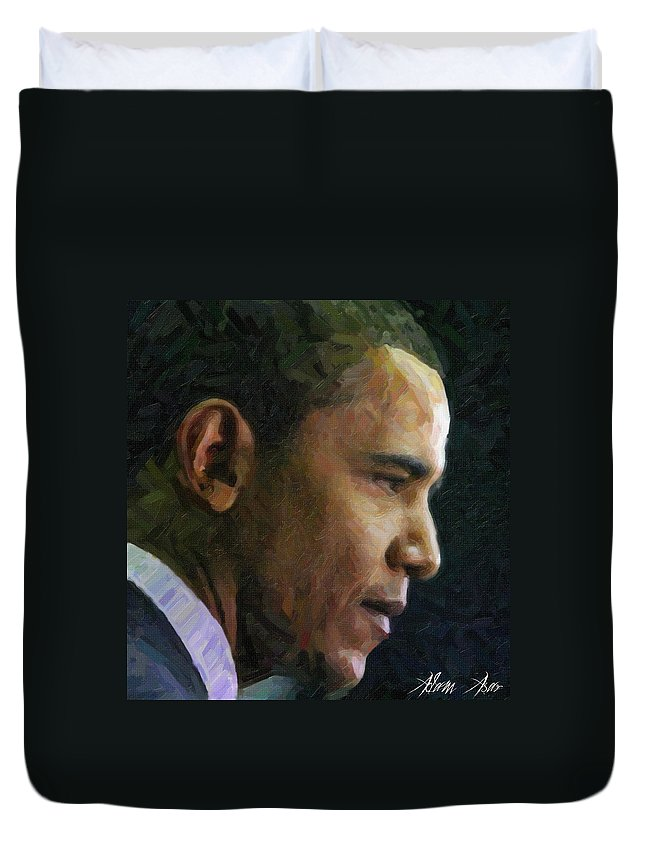 Obama1 Duvet Cover featuring the painting Obama1 by MotionAge Designs