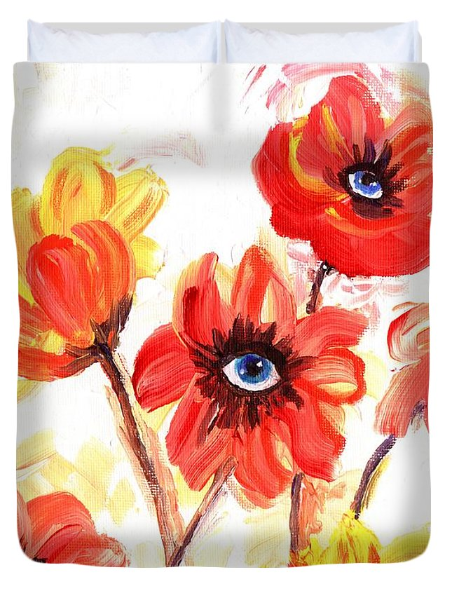 Flowers Duvet Cover featuring the painting Observant Flowers 101 by Linda Mears