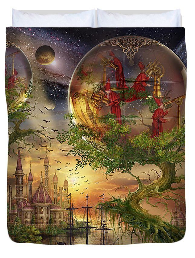 Mystical Duvet Cover featuring the digital art Observer Trees by Ciro Marchetti