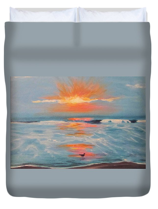 Sunrise Duvet Cover featuring the painting Obx Sunrise by Anne Marie Brown