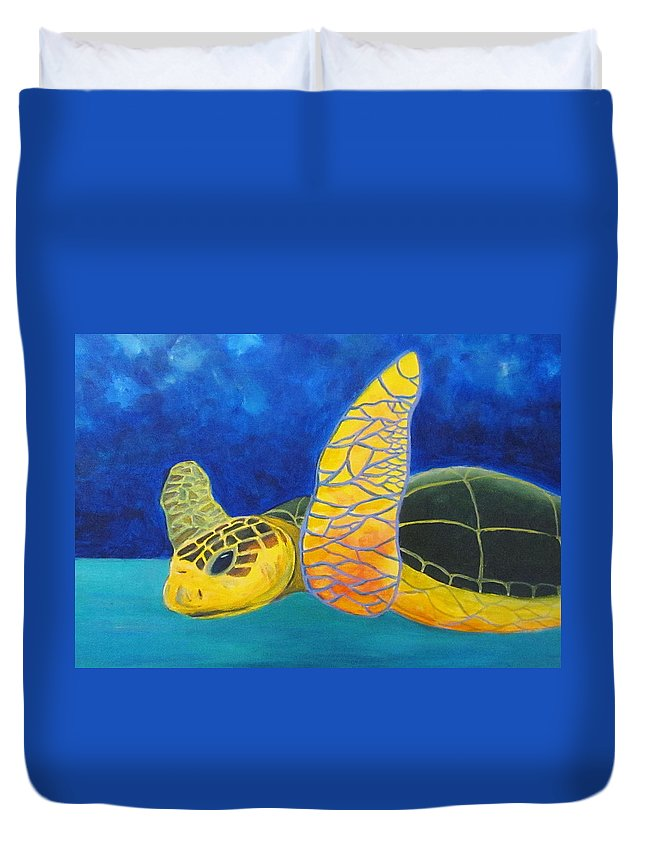 Sea Turtle Duvet Cover featuring the painting Obx Turtle by Anne Marie Brown