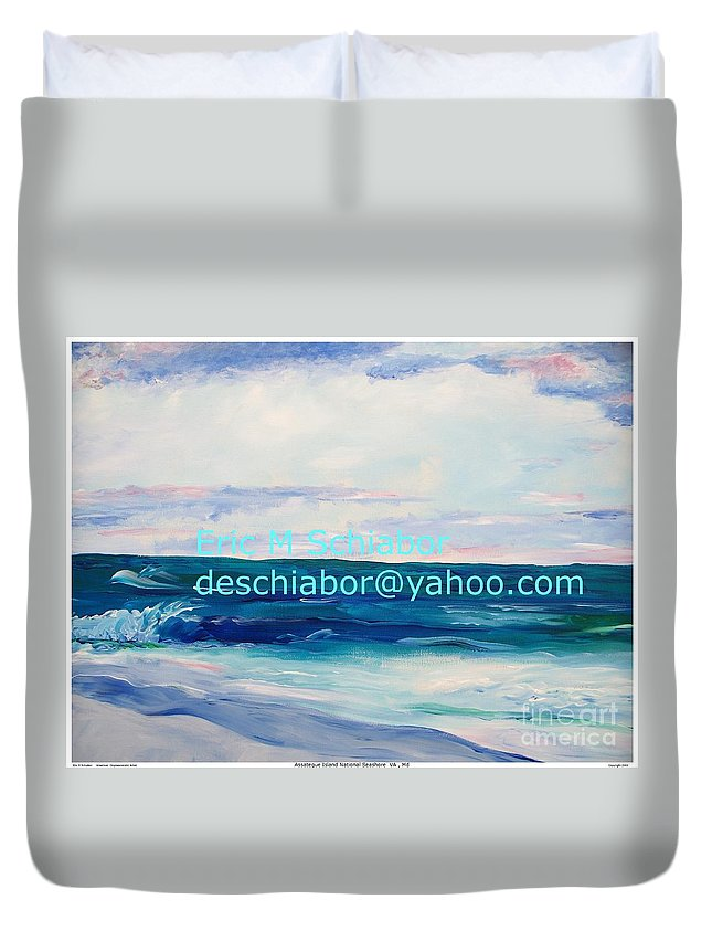 Floral Duvet Cover featuring the painting Ocean Assateague Virginia by Eric Schiabor