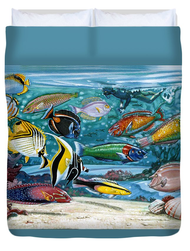 Fish Duvet Cover featuring the painting Ocean Fish by John Lautermilch
