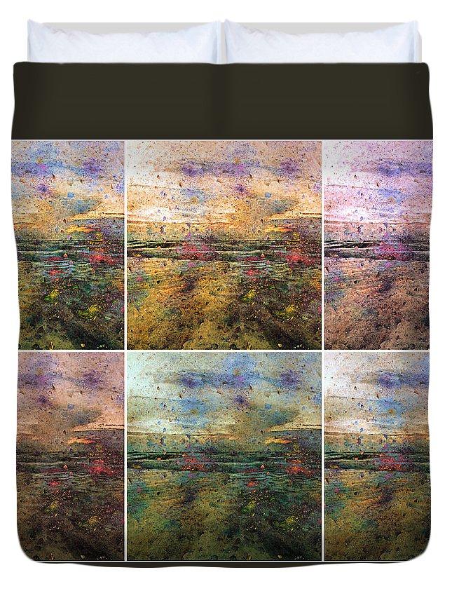 Abstract Duvet Cover featuring the digital art Ocean Morning V by Betsy Knapp