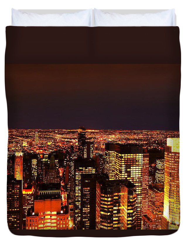 New York City Duvet Cover featuring the photograph Ocean Of Light New York City Usa by Sabine Jacobs