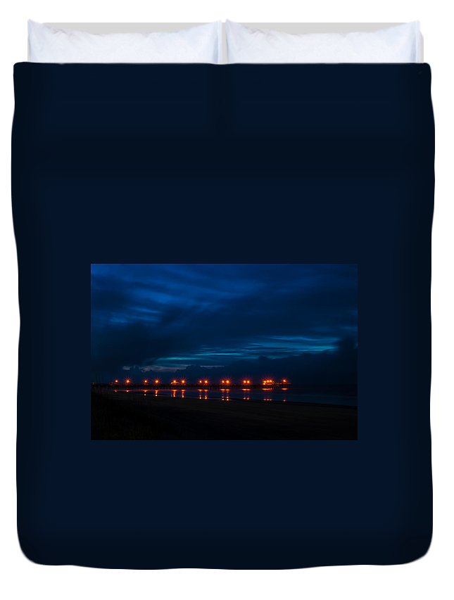 Pier Duvet Cover featuring the photograph Ocean Pier At Dawn 2 by Photos By Cassandra
