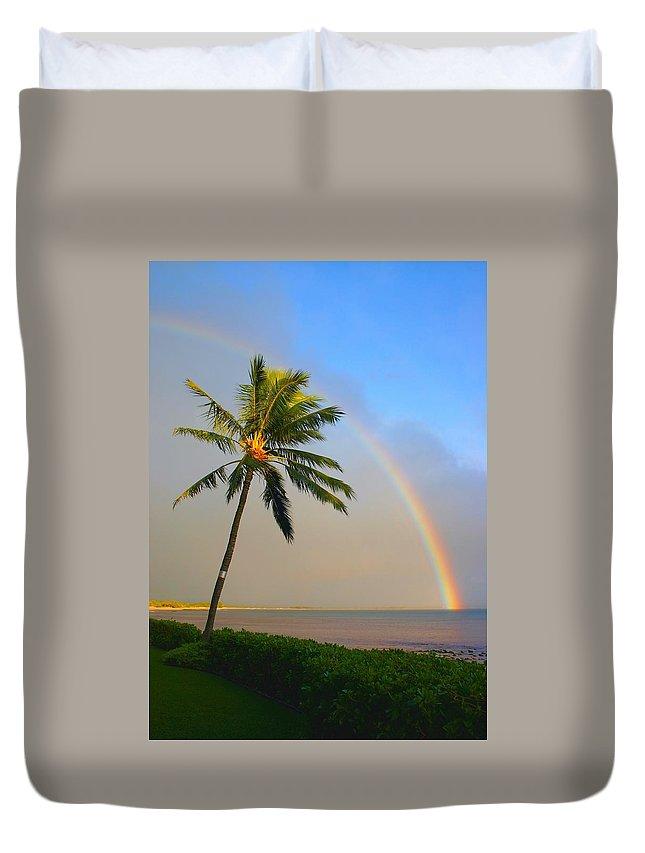Ocean Duvet Cover featuring the photograph Ocean Rainbow Maui by Charles Owens