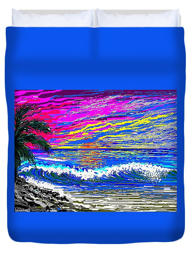 Ocean Sunset Quickly Sketched In One Hour. Duvet Cover featuring the digital art Ocean Sunset by Larry Lehman