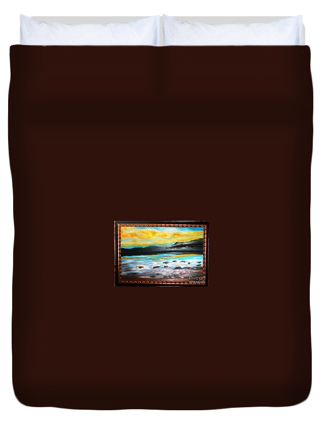 Oil Painting Duvet Cover featuring the painting Ocean View by Yael VanGruber