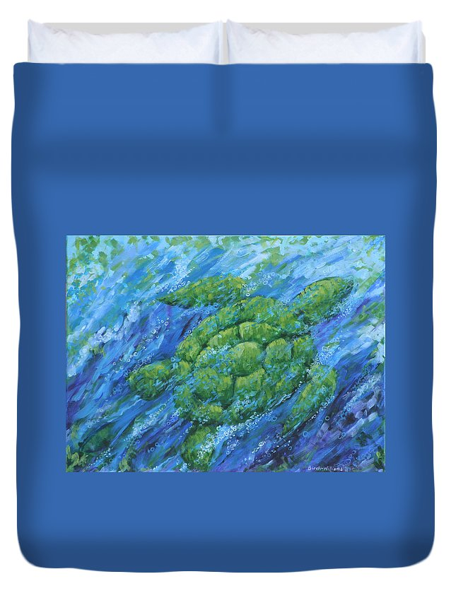 Turtle Duvet Cover featuring the painting Ocean Voyager by Penny Birch-Williams