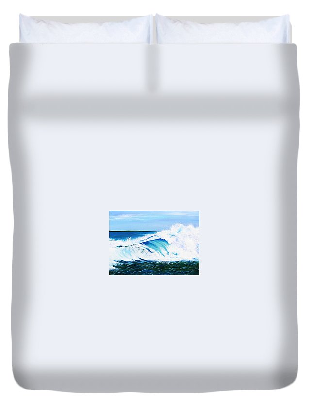 Ocean Duvet Cover featuring the painting Ocean Wave by Anne Marie Brown