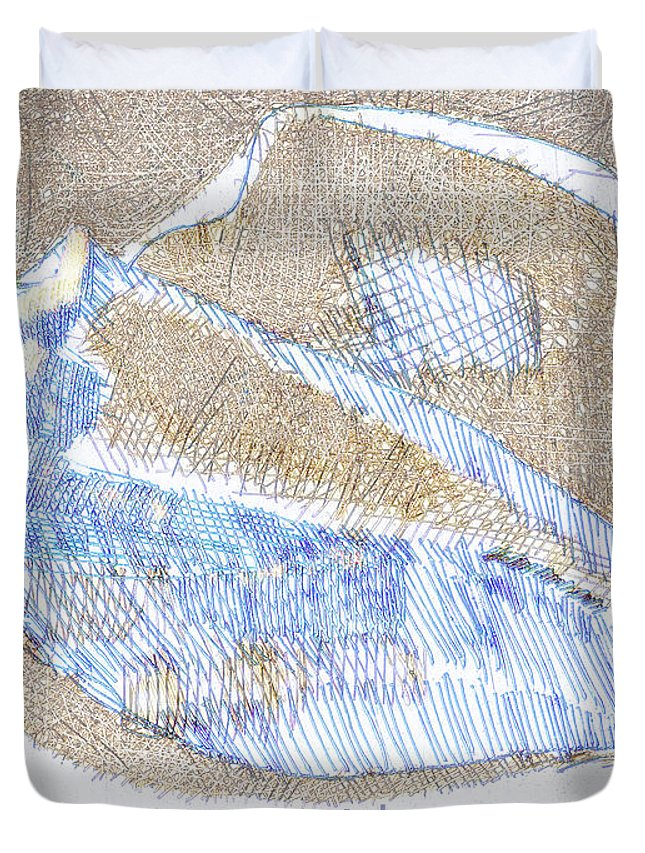 Shell Duvet Cover featuring the drawing Ocean Whispers by Richard Glen Smith