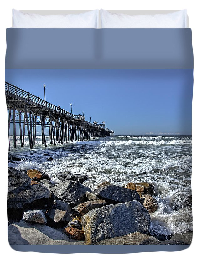 Oceanside Pier Duvet Cover featuring the photograph Oceanside Rocks by Diana Powell