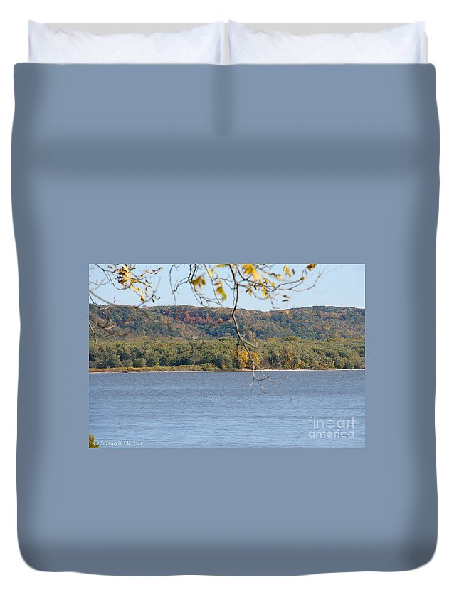 Flower Duvet Cover featuring the photograph October Bluffs by Susan Herber