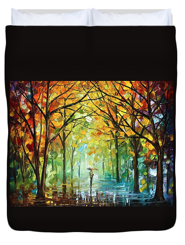 Forest Duvet Cover featuring the painting October In The Forest by Leonid Afremov