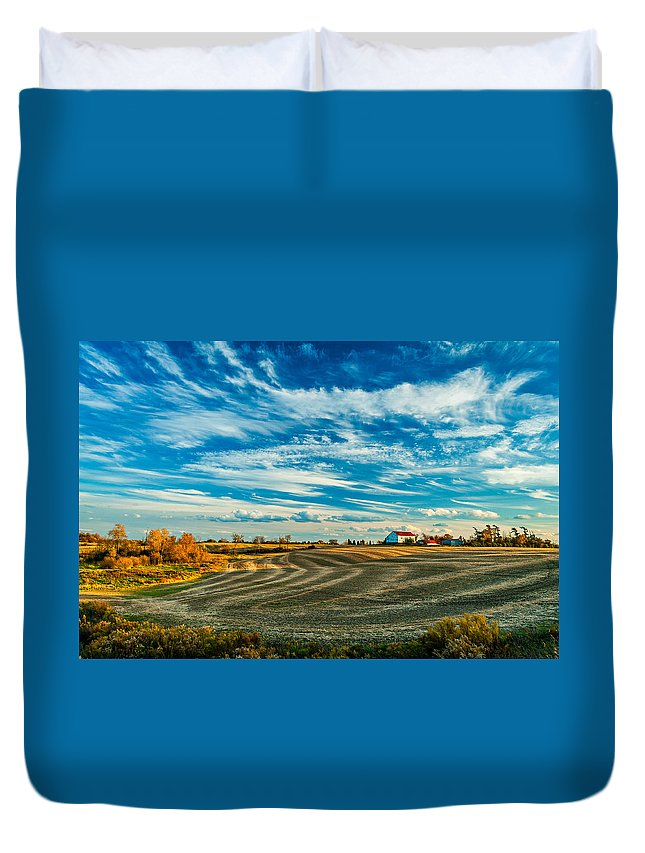 Landscape Duvet Cover featuring the photograph October Patterns by Steve Harrington
