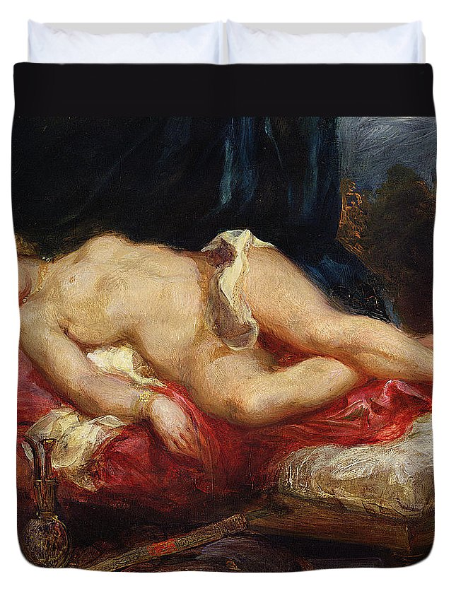 Delacroix Duvet Cover featuring the painting Odalisque by Ferdinand Victor Eugene Delacroix