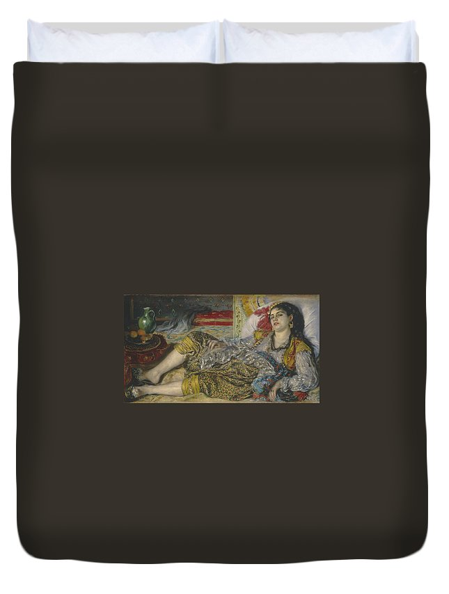 Algerian; Woman; Orientalist; Impressionist; Female; Exotic; North; African; Harem; Concubine; Costume Duvet Cover featuring the painting Odalisque by Pierre Auguste Renoir