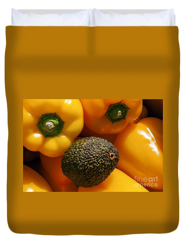 Apt France Bell Pepper Yellow Orange Peppers Avocado Avocados Fresh Fruit Ripe Fruits Food Foods Market Markets Vegetable Vegetables Still Life Provence Duvet Cover featuring the photograph Odd Ball by Bob Phillips