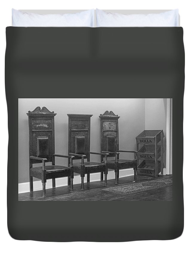 Oddfellows Duvet Cover featuring the photograph Odd Seats Of Power B W by Howard Tenke