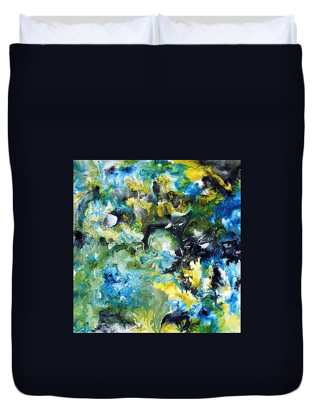Abstract Painting Duvet Cover featuring the painting Of A Gem by Sumit Mehndiratta