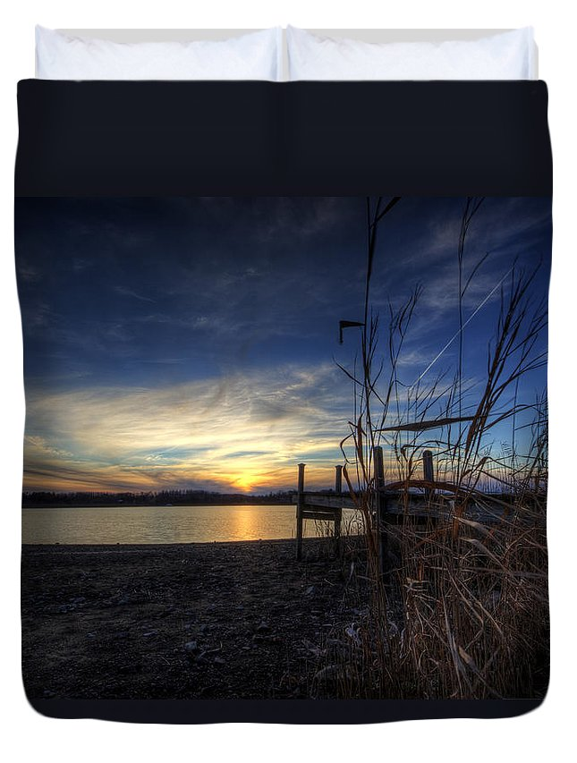 Guilford Lake Duvet Cover featuring the photograph Off Season Sunset At The Lake by David Dufresne