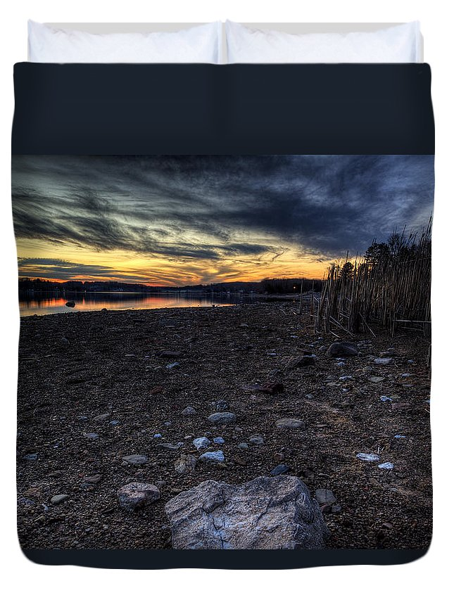 Sunset Duvet Cover featuring the photograph Off Season Sunset by David Dufresne