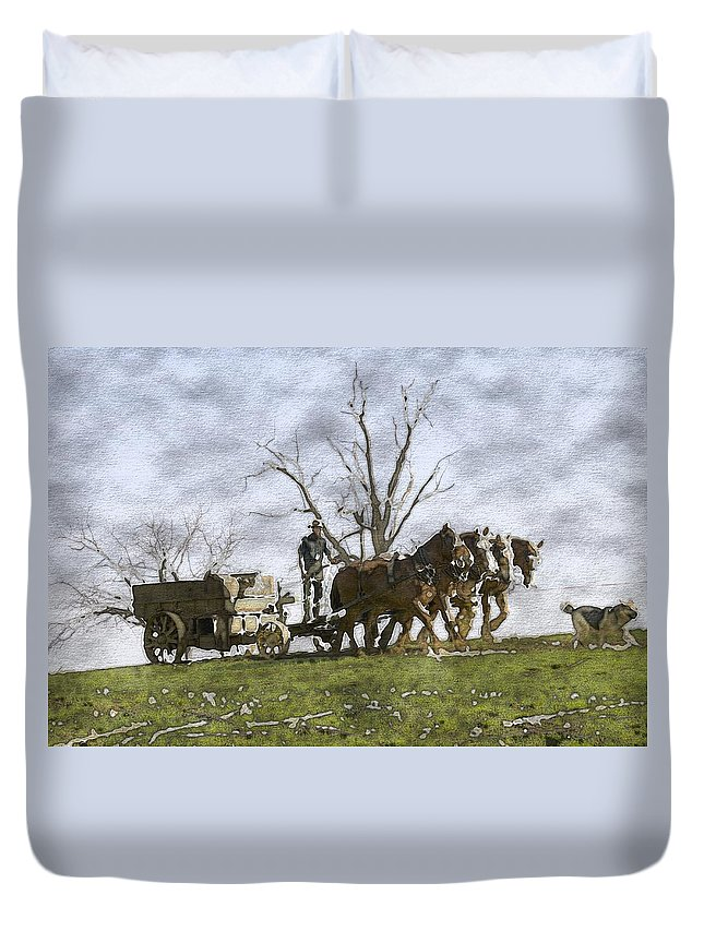 Horses Duvet Cover featuring the photograph Off To The Field by Alice Gipson