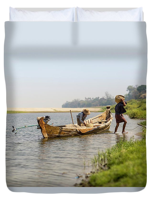 Working Duvet Cover featuring the photograph Offloading Construction Details From by Merten Snijders
