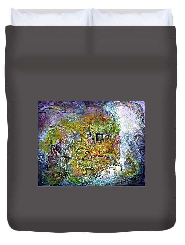 Tiamat Duvet Cover featuring the painting Offspring Of Tiamat - The Fomorii Union by Otto Rapp