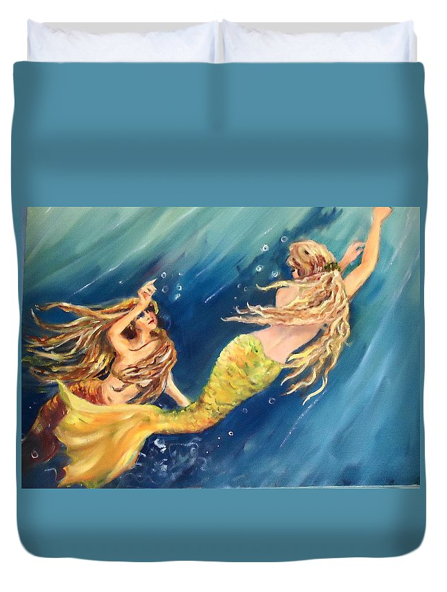 Two Mermaids Going To The Surface To See What Can Be Seen. Mermaids Duvet Cover featuring the painting Oh Look by Charme Curtin