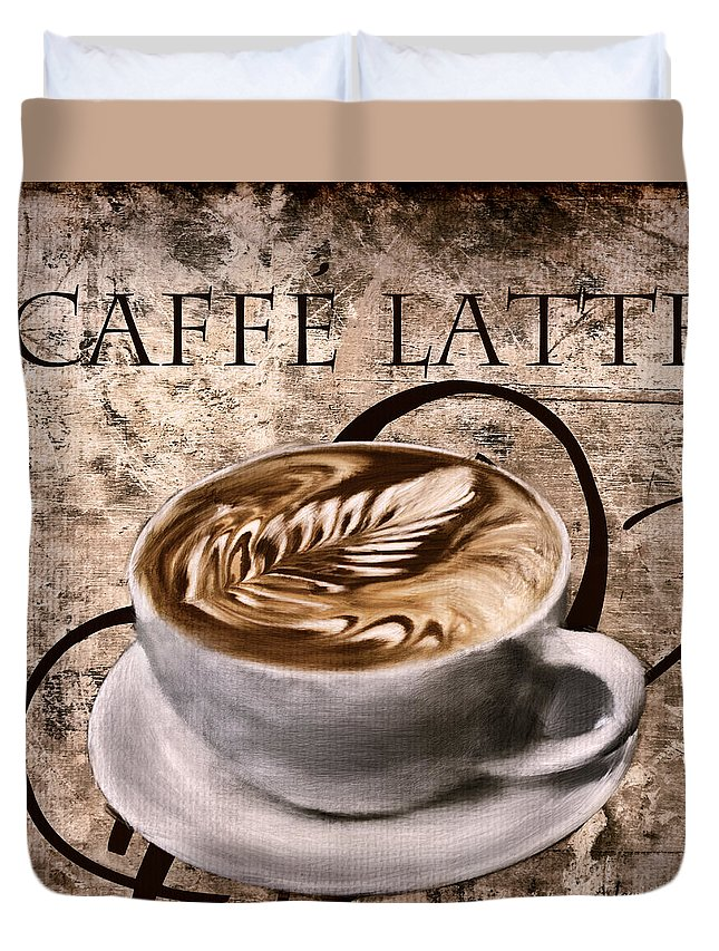 Coffee Duvet Cover featuring the digital art Oh My Latte by Lourry Legarde