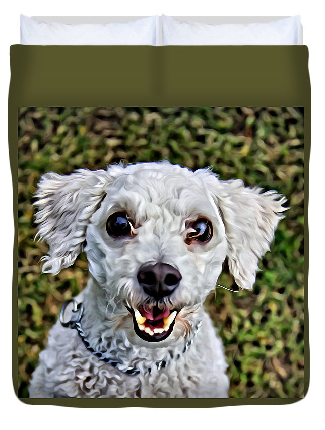 Dog Duvet Cover featuring the photograph Oh My That Face by Alice Gipson