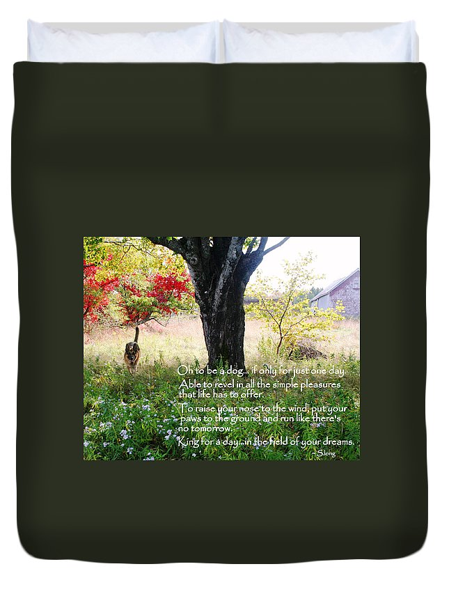 Inspirational Duvet Cover featuring the photograph Oh To Be A Dog by Sue Long