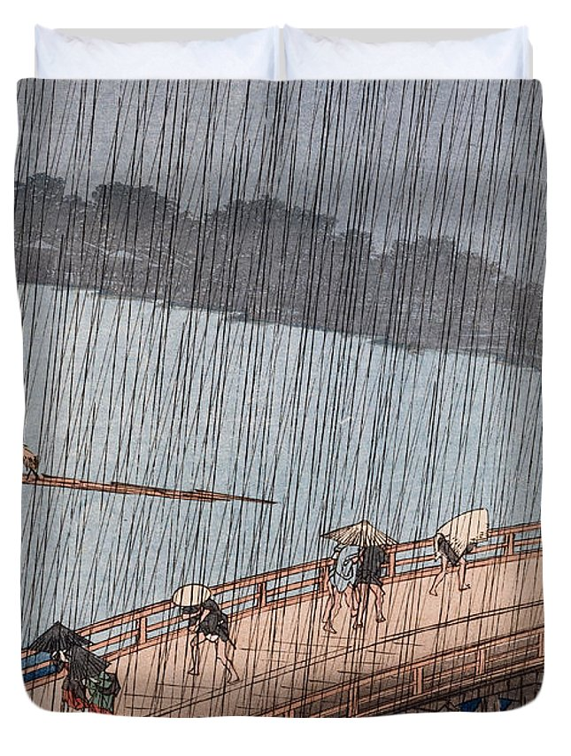 Ohashi Duvet Cover featuring the painting Ohashi Sudden Shower At Atake by Ando Hiroshige