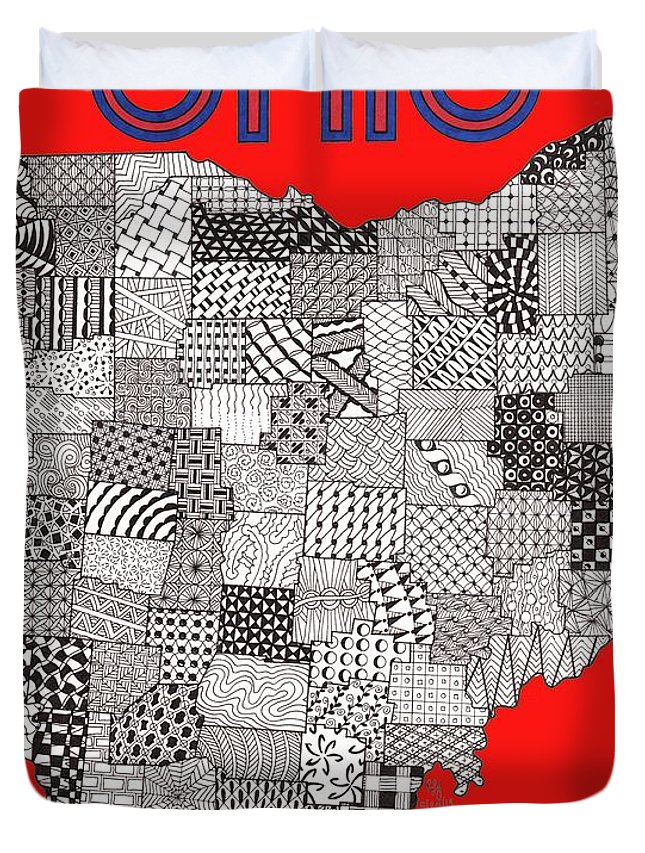 Ohio Duvet Cover featuring the drawing Ohio Map Red by Rebecca Jayne